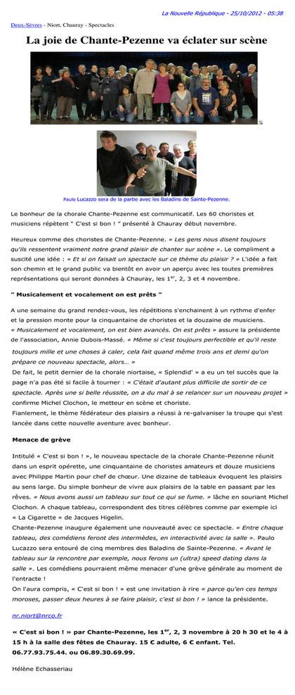 Nouvelle République - Jeudi 25.10.2012
