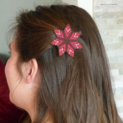 kp kitsch-paradise artisans créateurs accessoire de cheveux barrette mandala
