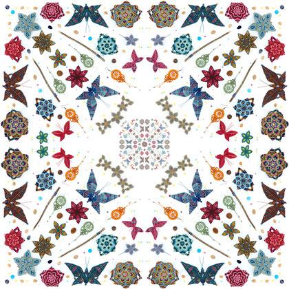 kitsch-paradise artisans créateurs création tissage macramé couleur psychédélisme nature art accessoire de cheveux coiffe barrette fleur et papillon