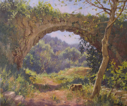 Tony Wahlander (Wåhlander) Le vieil aqueduc de Barjols, est recouvert de stuc de calcaire et de plantes grimpantes profitant de l'humidité du canal qui autrefois, servait l'eau dans le bas du village dans les cultures des petits jardins