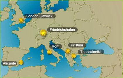 Das geplante Angebot an Zielorten ab Friedrichshafen/ Courtesy: My Wings