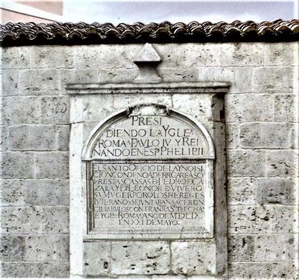 Inschrift der Inquisition am Hause der Casallas in Vallodolid (Fotorekonstruktion - Quelle: vallisoletum.blogspot.de)