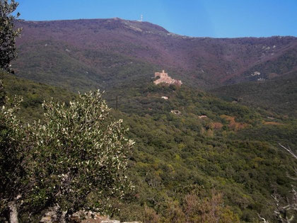 Blick vom Col de Medas auf Burg Requesens und Puig Neulos
