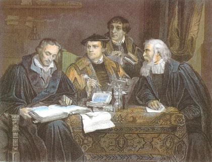 Reformatorische Theologen bei der Bibelübersetzung - historisierende Darstellung (Luther in der Mitte, links Melanchthon - den Autor des viel verwendeten Bildes kann ich nicht feststellen)