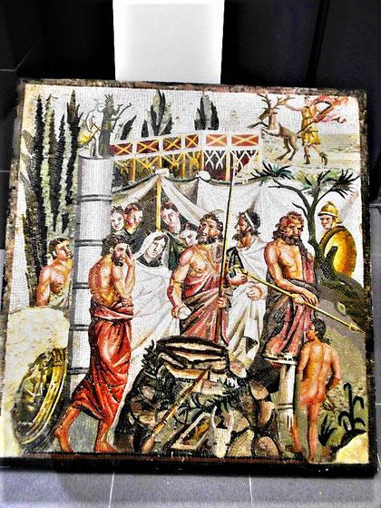 Römisches Mosaik aus Emporion: Iphigenie in Aulis