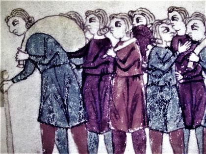 Ausziehende Hebräer ( Darstellung im Jüd. Museum)
