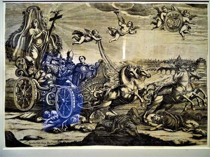 """""""Allegorie"""" des Sieges der römischen Kirche über die Ketzerei. Ignasi Valls, Barcelona 1737 ( in der Ausstellung """"Imatges per creure"""") - Die Opfer der """"Triumphfahrt"""" liegen unter dem Wagen!"""