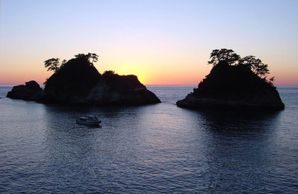 Dogashima islands at sunset