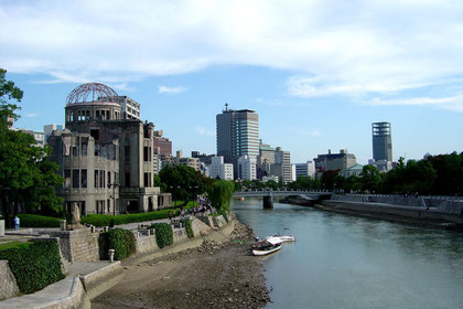 The A-bomb Dome stands over the Motoyasu River in Hiroshima