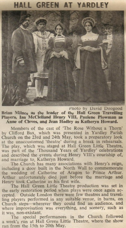 A play performed as part of the Yardley Millennium Celebrations, May 1972 (New Compass newspaper, June 1972)