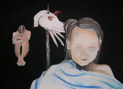 Regentag mit Taube; 150x100cm; Kohle Weiß- und Pastellkreide auf Büttenpapier