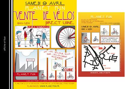 Création d'affiche et flyer pour une vente d'usine - Planet Fun