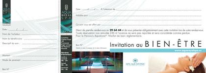 Création du chéquier cadeau pour l'Aqua Royal Spa - Agence Atelier B2