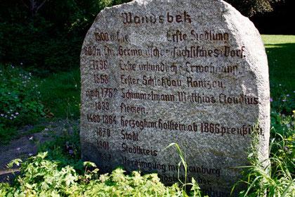 Geschichtsstein, Friedhof Wandsbek, Hamburg