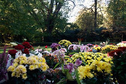 Anonyme Bestattung, hier: der zentrale Ort, an dem Blumen niedergelegt werden können, Friedhof Ohlsdorf, Hamburg