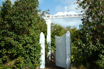 Eingangstor, Friedhof der Heimatlosen auf Amrum
