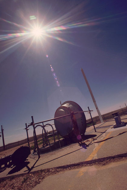 THe entrance of a Minuteman II launch silo, opened for technicians' access during the early stages of its decommissioning process.  The Minuteman II carried a W56 warhead of 1.2 megaton yield.