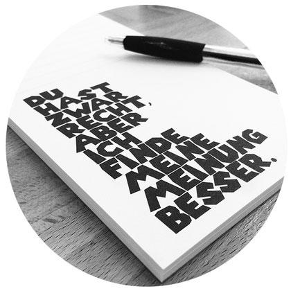 Notizblock mit Spruch für schnelle Notizen