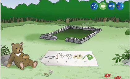 Fundament des Bärenhauses mit einem Bauplan