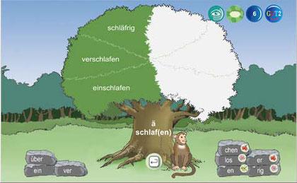 Im Lernbereich wird ein Baum angezeigt, aus Wortbausteinen wurden Wörter gebildet.