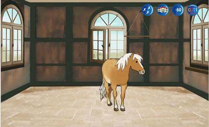 Das Pferd erhält im Schloss ein eigenes Zimmer. Zu Beginn des Lernens ist das Zimmer noch leer.