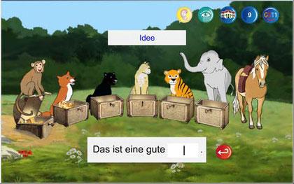 Lernbereich von GUT1 mit der Anzeige eines zuvor falsch geschriebenen Wortes