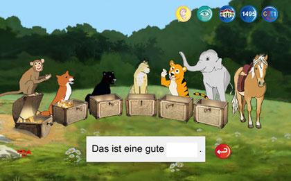 Lernbereich des Rechtschreibtrainings GUT1 mit 6 Schatzkisten und Tieren, noch ohne zu schreibendes Wort