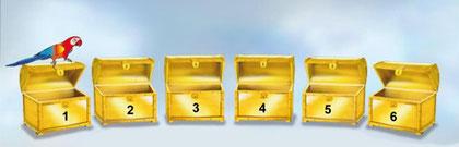 Lernbereich mit nummerierten Schatzkisten, aber ohne Schreibfeld