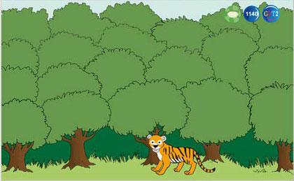 Wortschatzwald, bei dem alle Bäume grün sind, also alles gelernt wurde