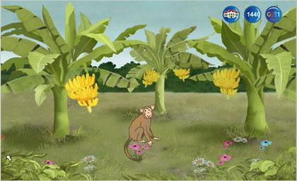 Der Affe hat Bananenstauden erhalten.
