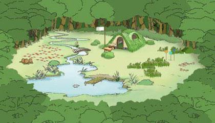 Lichtung mit Teich, Büschen, Bärenhaus, Blumen
