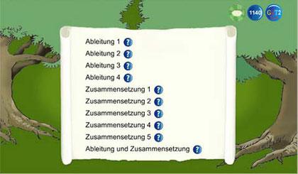 Liste der im Wortbautraining zur Verfügung stehenden Wörter