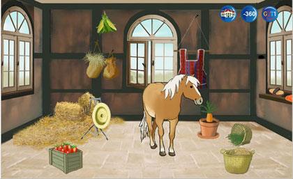 Zimmer im Schloss für das Pferd, vollständig eingerichtet