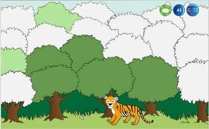 Wortschatzwald, in dem einige Bäume grün sind, also bereits bearbeitet wurden