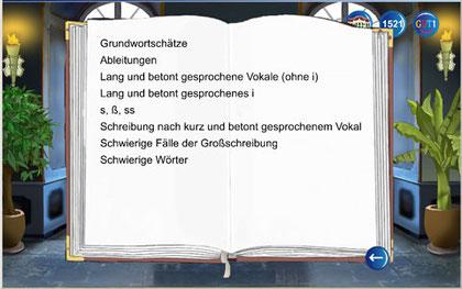 In einem Buch wird die Liste der gelernten Wortschätze dargestellt.