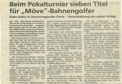 Artikel aus den Cuxhavener Nachrichten vom 26.06.1992