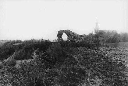 остатки стен замка Кройцбург 1900 г. Вид с юга.