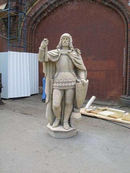 Подготовка к установке скульптуры великого комтура Фридриха графа фон Цоллерн