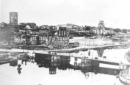 """Калград мост Хольцбрюке """"Деревянный"""" слева кирха Св. Барбары справа Католическая кирха."""