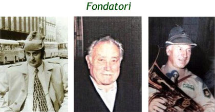 Da sinistra: Luciano Baratta (Vicepresidente sezionale nel 1975), M° Palmino Stefanoni (primo maestro 1975-1990), M° Cav. Giancarlo Pellanda (maestro 1991-1998)