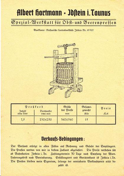 Albert Hartmann Spezialwerkstatt für Obst- und Beerenpressen