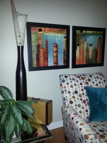 living room colour scheme: accent colour chosen from chair and artwork