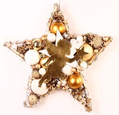 Stern mit Lichterkette und goldenem Engel