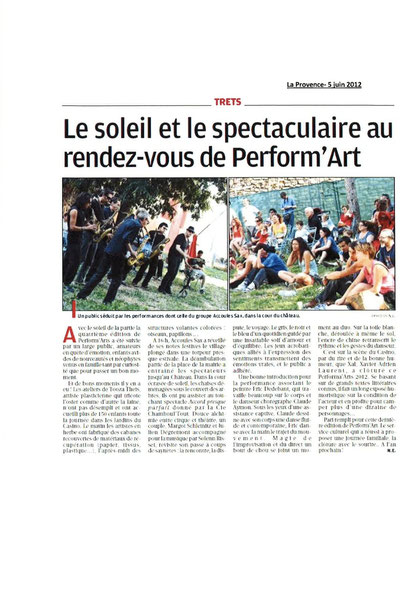 Article La Provence 5 juin 2012