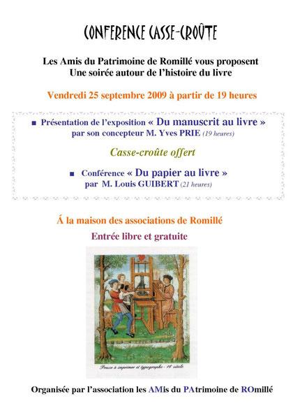 Affiche conférence Histoire du livre