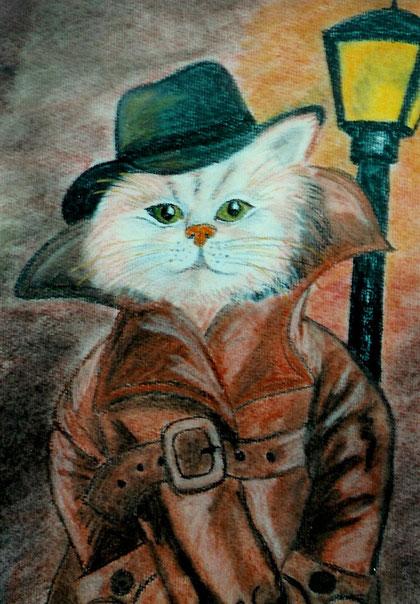 Pastellmalerei ... Katze undercover ;-)
