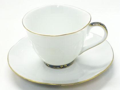 九谷焼通販 おしゃれ ギフト カップ&ソーサー コーヒカップ コーヒー碗  青粒+金花詰(傑作)【裏絵】