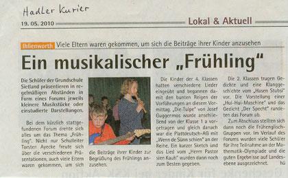 Hadler Kurier, 19.05.: Frühlingsforum 2010