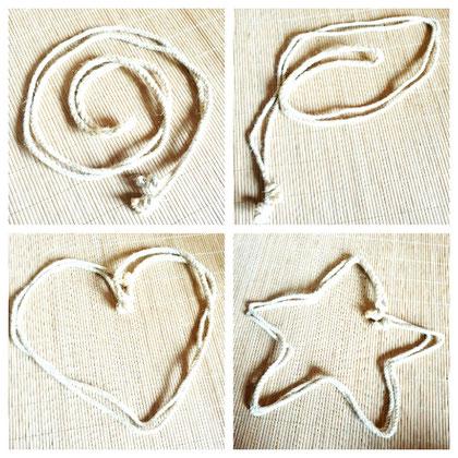 Logo Collage: Seil geformt zu Spirale, Blatt, Herz und Stern; steht für Inspiration, Natürlichkeit, Sinnlichkeit und Fantasie
