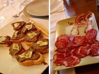 アヒルのレバーを使ったパテ(左)とサラミの盛り合わせ。